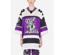 T-Shirt aus Satin mit Jungle Sport Zebra-Print