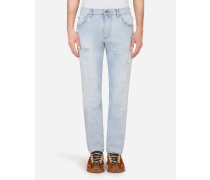Stretch-Jeans Slim Azurblau mit Übernähten Rissen