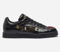 Sneaker aus Leder mit Applikationen