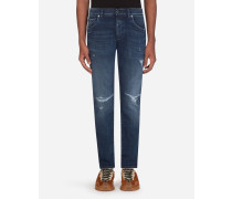 Stretch-Jeans Skinny Blau mit Rissen