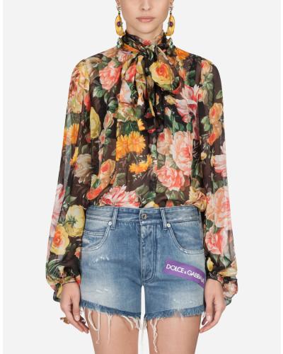 Bluse aus Bedruckter Seide