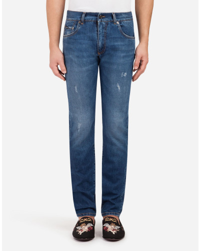 Gold Fit Stretch-Jeans mit Patch
