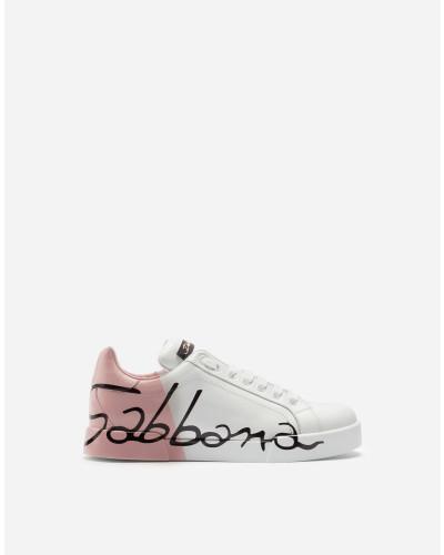 Sneakers Portofino aus Leder mit Metallic Heel