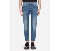 Stretch Skinny Jeans mit Kleinen Abriebstellen