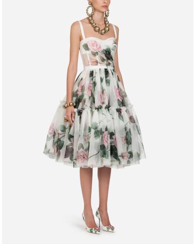 Midi-Kleid AUS Organza MIT Tropischem Rosendruck
