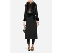 Langer Mantel aus Wolle mit Fellkragen