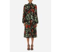Longuette-Kleid aus strukturiertem Chiffon Rosenprint mit Schleife