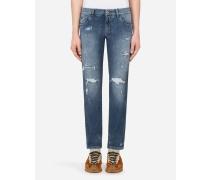 Stretch-Jeans Slim Azurblau mit Rissen