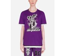 T-Shirt mit Rundhalsausschnitt aus Jersey und Jungle Sport Zebra-Print