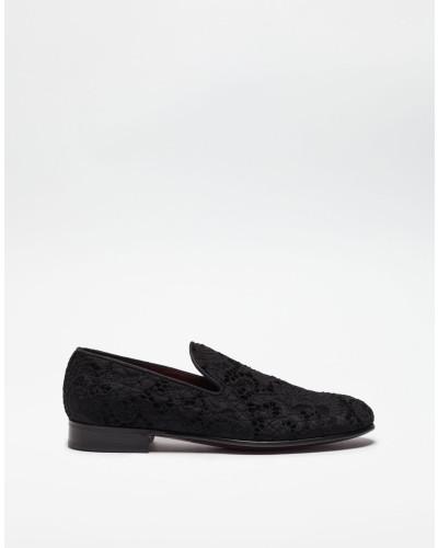 Dolce & Gabbana Herren Slipper aus Samt und Spitze Billig Verkauf Amazon Billig Verkauf Sneakernews Freies Verschiffen Bester Verkauf Auslass Viele Arten Von 2018 Neu Zu Verkaufen WY2RX