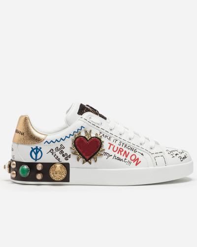ba49c302388343 Dolce   Gabbana Herren Sneakers Portofino aus Kalbsleder mit Patch  Spielraum Zahlung Mit Visa Günstiger Preis