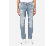 Skinny Stretch Jeans Hellblau mit Rissen