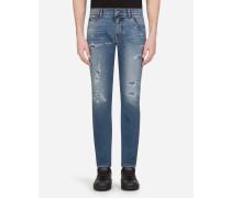 Stretch-Jeans Slim mit Patch