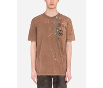 T-Shirt aus Baumwolle Color-Dripping-Optik