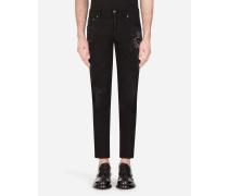Skinny Stretch Jeans mit Patch
