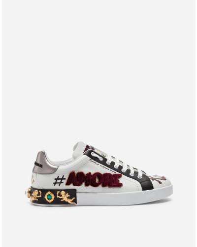 Sneaker Portofino aus Bedrucktem Kalbsleder mit Patch und Applikationen