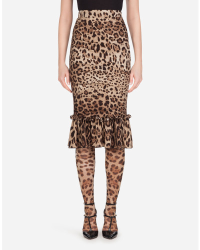 Longuette-Rock AUS Charmeuse MIT Leoparden-Print