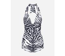 Ausgeschnittener Badeanzug mit Ringen Zebraprint