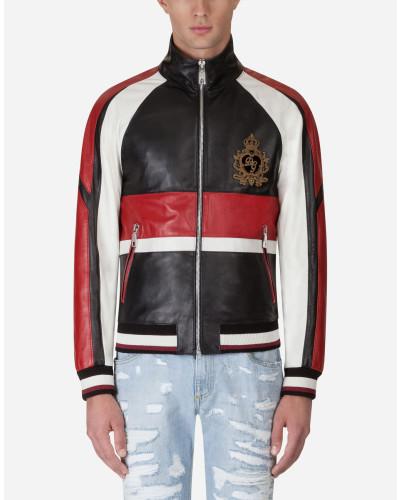 Jacke aus Leder mit Patch