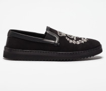 SLIP-ON AUS WILDLEDER MIT STICKEREI