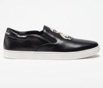 SLIP-ON SNEAKER LONDON AUS LEDER MIT DESIGNER-APPLIKATION