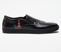 SLIP-ON SNEAKER LONDON AUS BEDRUCKTEM LEDER