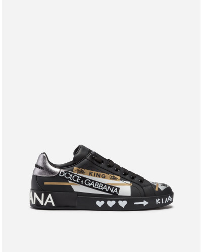 Sneaker Portofiino aus Bedrucktem Kalbsnappaleder