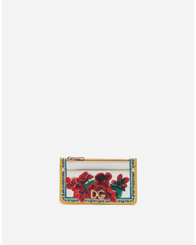Kreditkartenetui aus Bedrucktem Dauphine-Kalbsleder mit Logo