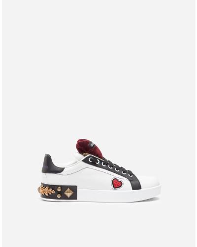 Sneaker aus Leder mit Patches