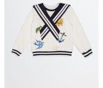 COTTON SWEATSHIRT WITH SAILOR COLLAR AND PATCH