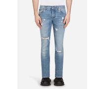 Stretch Skinny Jeans mit Patch