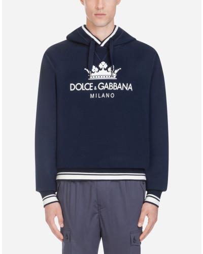 Sweatshirt aus Baumwolle mit Kapuze und Print