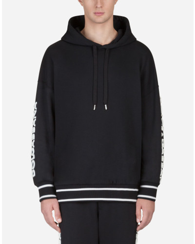 Baumwoll-Sweatshirt mit Kapuze und Patch