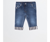 JEANS WITH STRIPED FABRIC DETAIL