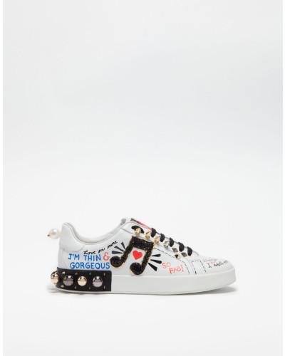 Sneaker Portofino aus Bedrucktem Leder mit Applikationen