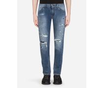 Skinny Stretch Jeans Azurblau mit Rissen
