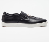 LEATHER LONDON SLIP-ON SNEAKERS WITH PATCHES OF THE DESIGNERS