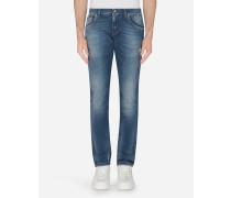 Stretch Skinny Jeans mit Aufgedruckten Baumwolldetails