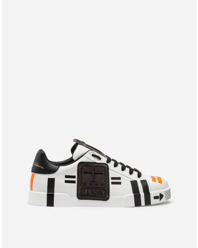 Sneakers Portofino in Bedrucketem Nappa-Kalbsleder mit Patch