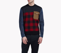 Pocket Check Denim Sweatshirt