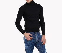 Ribbed Wool Turtleneck Pullover