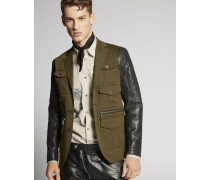 Contrasted Leather Blazer