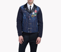 Contrasted Denim Patch Jacket