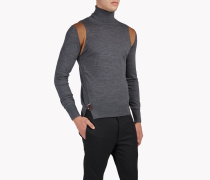 Contrasted Wool Turtleneck Pullover