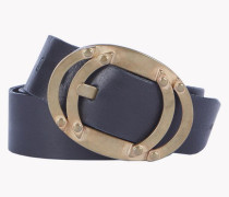 Leather Bronze Buckle Belt