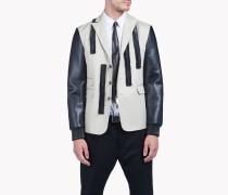 Leather Ruffle Blazer