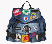 Military Patch Denim Backpack