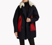 Wool Leather Patch Coat