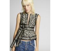 Zebra Jacquard Belted Top