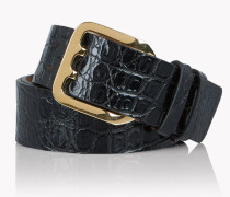 Leather Croc-Effect Belt